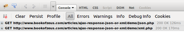 ajax response time json vs xml